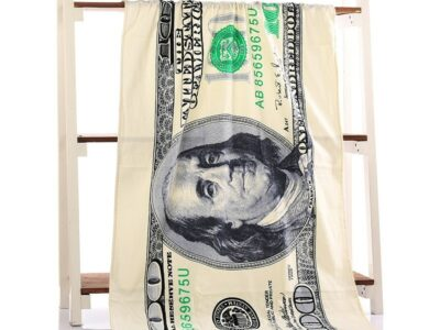 Полотенце пляжное, банное с принтом сто долларов США
